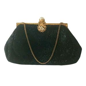 Antique 40s mini purse/ clutch  with gold frame